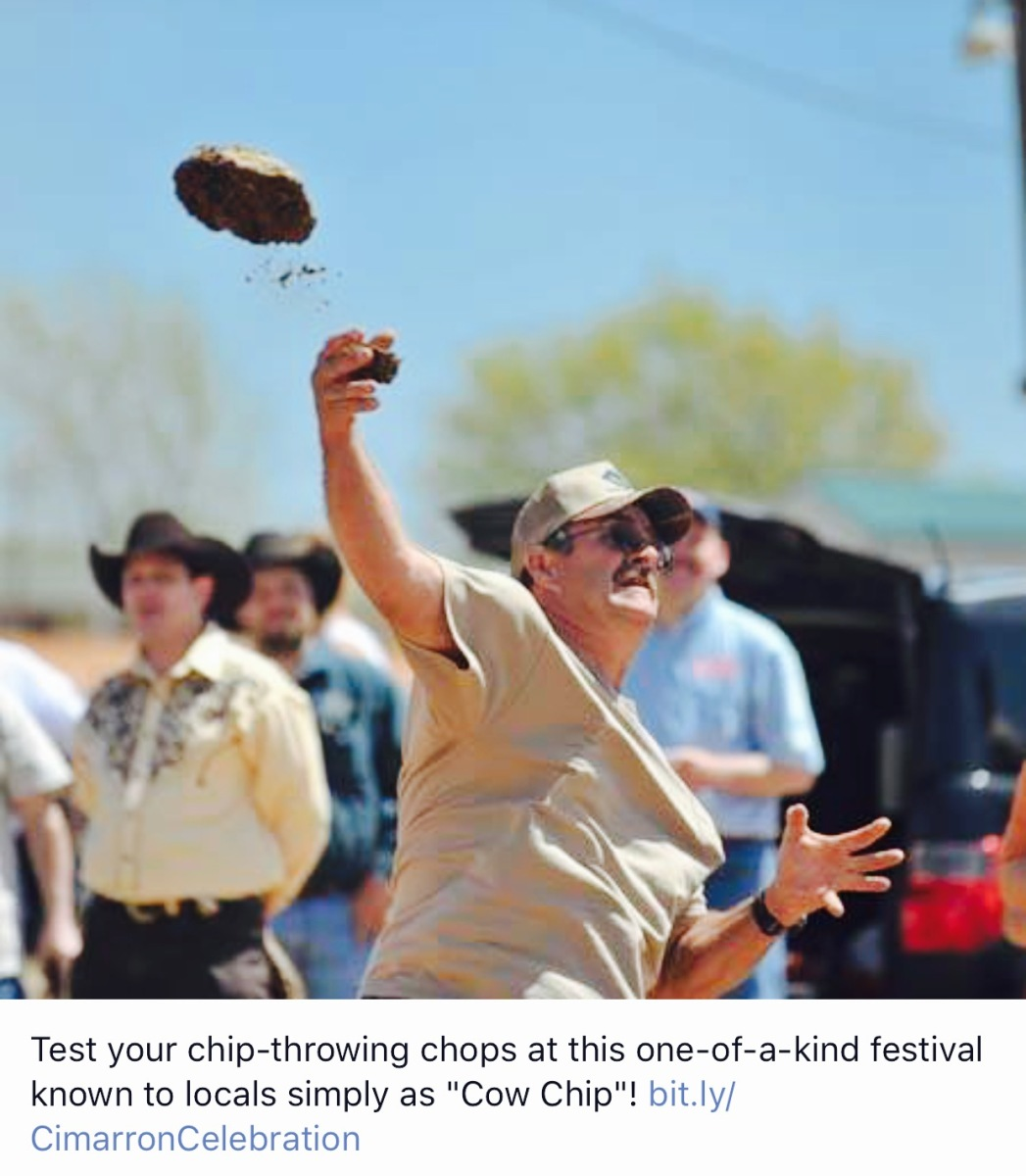 Beaver Oklahoma World Champion Cow Chip Throwing Contest few years ago.